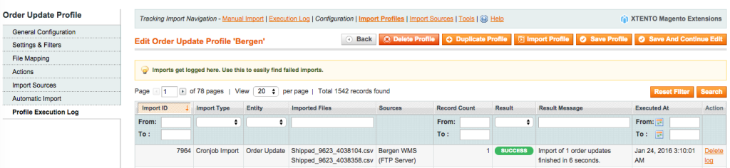 tracking-import-log
